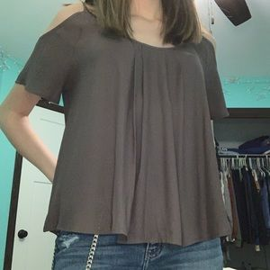 Gray off the shoulder blouse